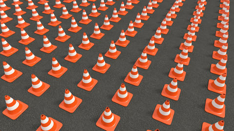 Traffic cones series tracking Animation