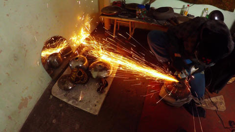210. Angle Grinder Strike Sparks In The Dark 0