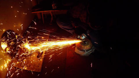 210. Angle Grinder Strike Sparks In The Dark 1