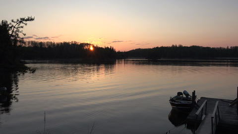 Sunrise Fishing Dock Boat Morning Footage