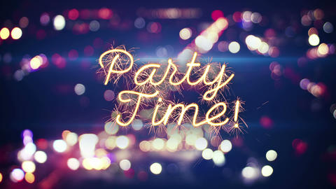party time sparkler text and city bokeh lights 4k (4096x2304) Animation