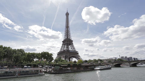 Eiffel Tower and the Seine river The iconic Eiffel tower Live Action