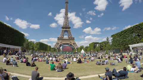 Crowd watching Tennis at French Open, Roland Garros Footage