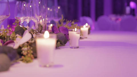 Table set for an event party or wedding reception Footage