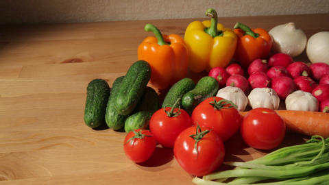 Assorted vegetables on a table Footage