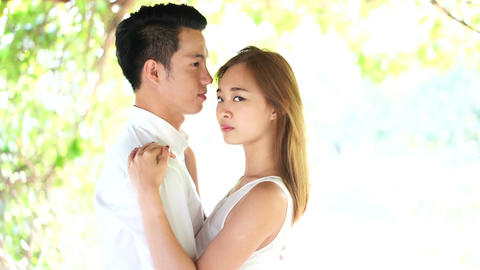 Asian couple in high key Footage