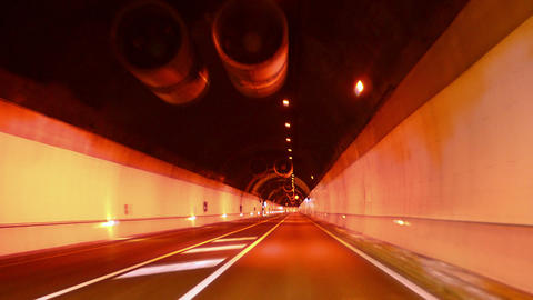 Highway Red Tunnel Rage Camera Car at High Speed Footage