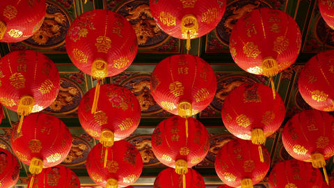 4K Video : Chinese paper lanterns in the temple for…, Live Action