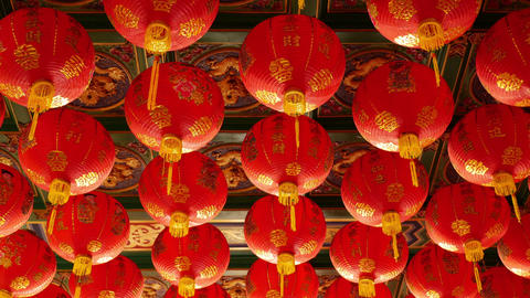 4K Video : Chinese paper lanterns in the temple for Chinese new year celebration Live Action