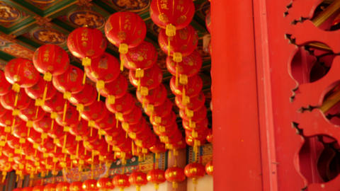 4K Video : Chinese paper lanterns behind the door on Chinese new year celebratio Footage