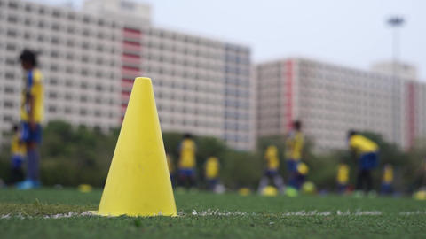 Football Team Practicing In Field stock footage