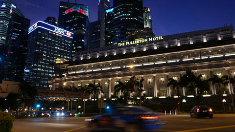 Buildings Lit Up At Night, Singapore stock footage