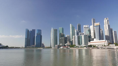 Singapore skylines at waterfront ビデオ