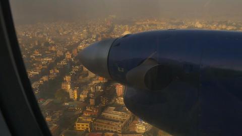 Air plane landing to airport at Kathmandu, Nepal Footage