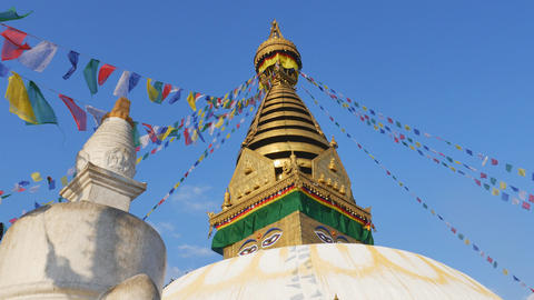 Swayambhunath Stupa with blue sky in sunyday Footage