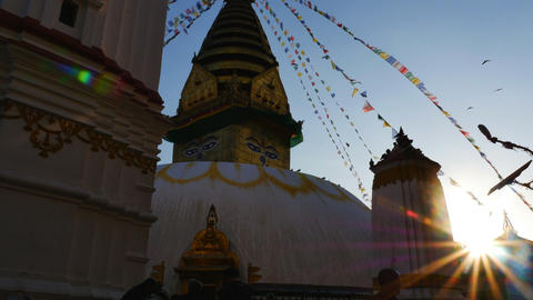 People at Swayambhunath Stupa with blue sky in sunny day on March 19, 2015 in Ka Footage