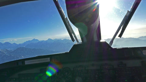 Unidentified man pilots plane to Everest at sunset Footage