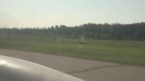 Propeller Plane Takeoff From Window stock footage