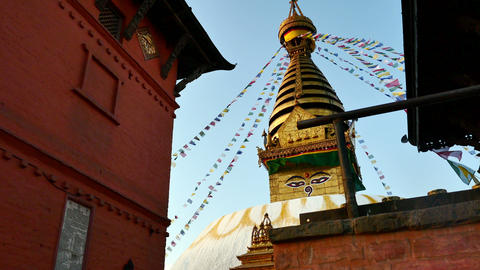 4K video of The Swayambhunath Stupa with blue sky in Kathmandu, Nepal Footage