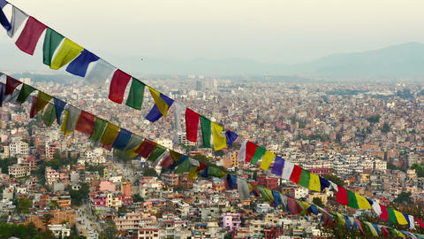 4K Video Cityscape view of Kathmandu city, Nepal : Zoom out shot Footage