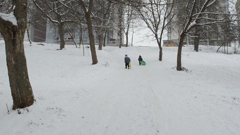 Children Getting In Mountains With Snow Pads In Winter Afternoon stock footage