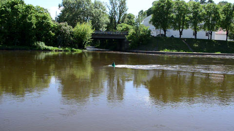 green buoy flow river neris center vilnius city Footage
