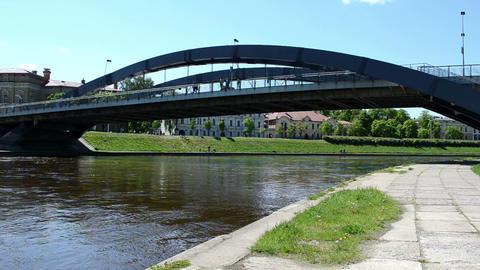 mindaugas bridge river neris vilnius city tourist water boat Footage