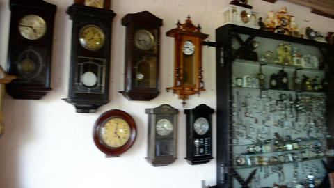 vintage clocks collection set museum exhibition room Footage
