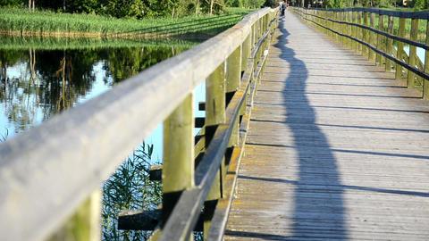 wooden bridge railing closeup couple embrace clinch distance Footage