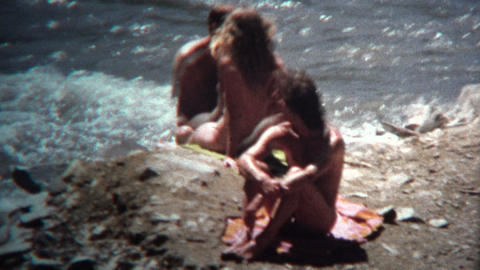 (8mm Vintage) 1968 Hippie Nudist Colony Riverside Footage