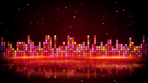 red glowing equalizer and reflection loop 4k (4096x2304) Animation
