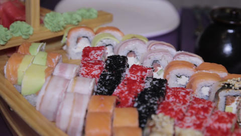 Variety of japanese sushi rolls Footage