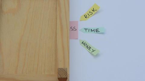 Hand Close Wooden Door Business Schema Plan Concept Stick Paper stock footage