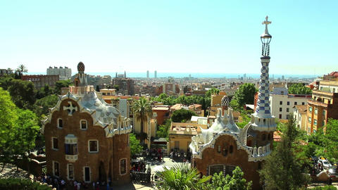 BARCELONA, SPAIN - 20 MAY, 2015: The Park Guell aka Parc Guell is a public park  Archivo