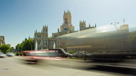Plaza de la Cibeles (Cybele's Square) - Central Post Office (Palacio de Comunica Footage