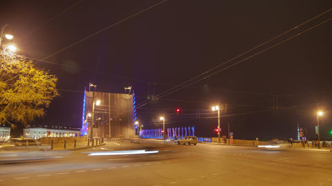Palace drawbridge night drawning in Saint Petersburg, Russia zoom timelapse 4K Footage