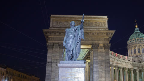 Kutuzov monument night motion timelapse 4K Footage