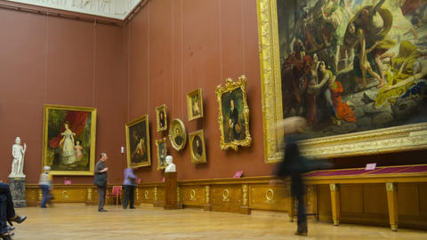 Hall in Russian museum interior zoom out timelapse 4K. Saint Petersburg, Russia Footage