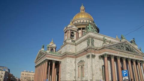 Saint Isaac's Cathedral sunny day motion timelapse 4K Footage