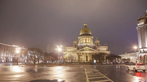 Saint Isaac's Cathedral night motion timelapse 4K Footage