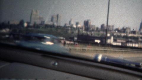 (8mm Vintage) 1950 Highway Driving Into St. Louis. USA Footage