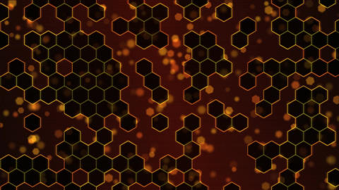 Scrolling Hexagon Background Animation - Loop Orange Animation