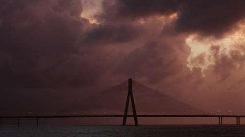 Bandra Worli sea link also known as Rajiv Gandhi Sea link, shot in rainy season Footage