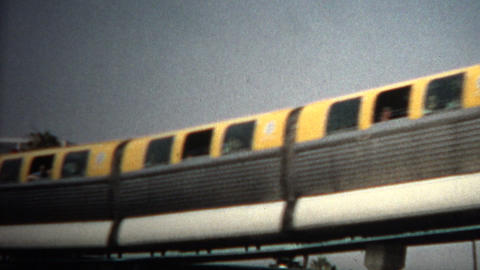 (8mm Vintage) 1968 Disneyland Hotel Monorail Footage