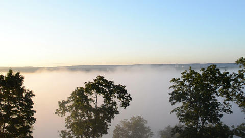 panoramic view fog rise downhill forest river early morning Footage