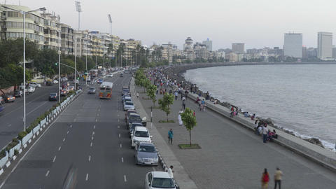 Time Lapse of Vehicle Traffic in evening at Marine Drive the Queen's necklace,wi Footage