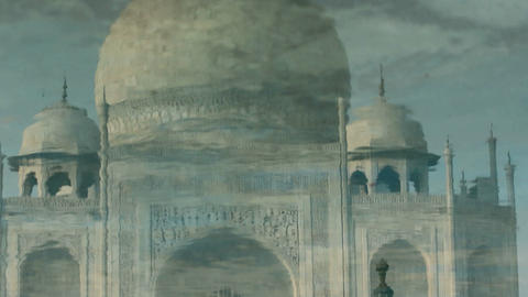 Reflection of Taj mahal at Agra A UNESCO World Heritage Site, A monument of Love Footage