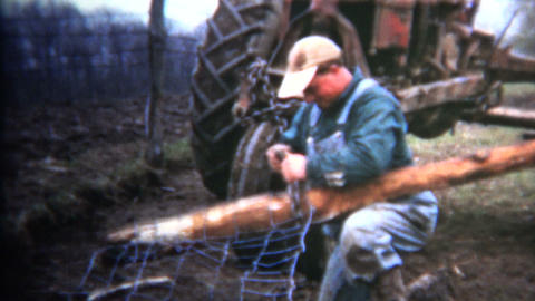 (8mm Vintage) 1952 Iowa Farmer Fixing Fences Footage