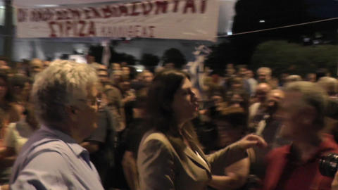 Greek parliament president with protesters Live Action
