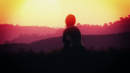 4K Young Women Sitting on a Hilltop in a Summer Sunset Sunrise 3D Animation 12 s Footage